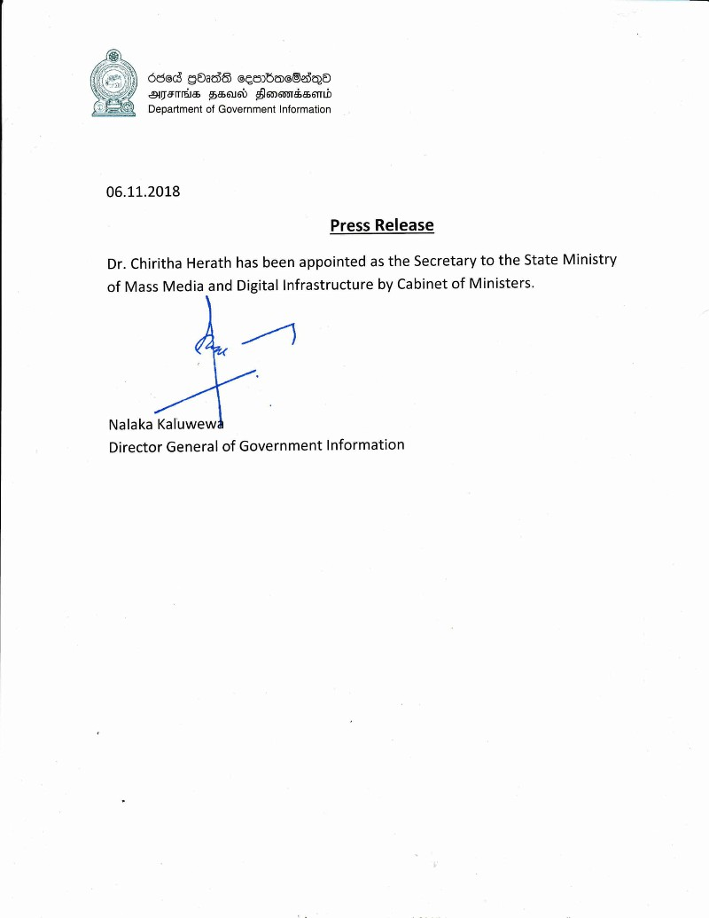 Dr. Chiritha Herath has been appointed 1 E