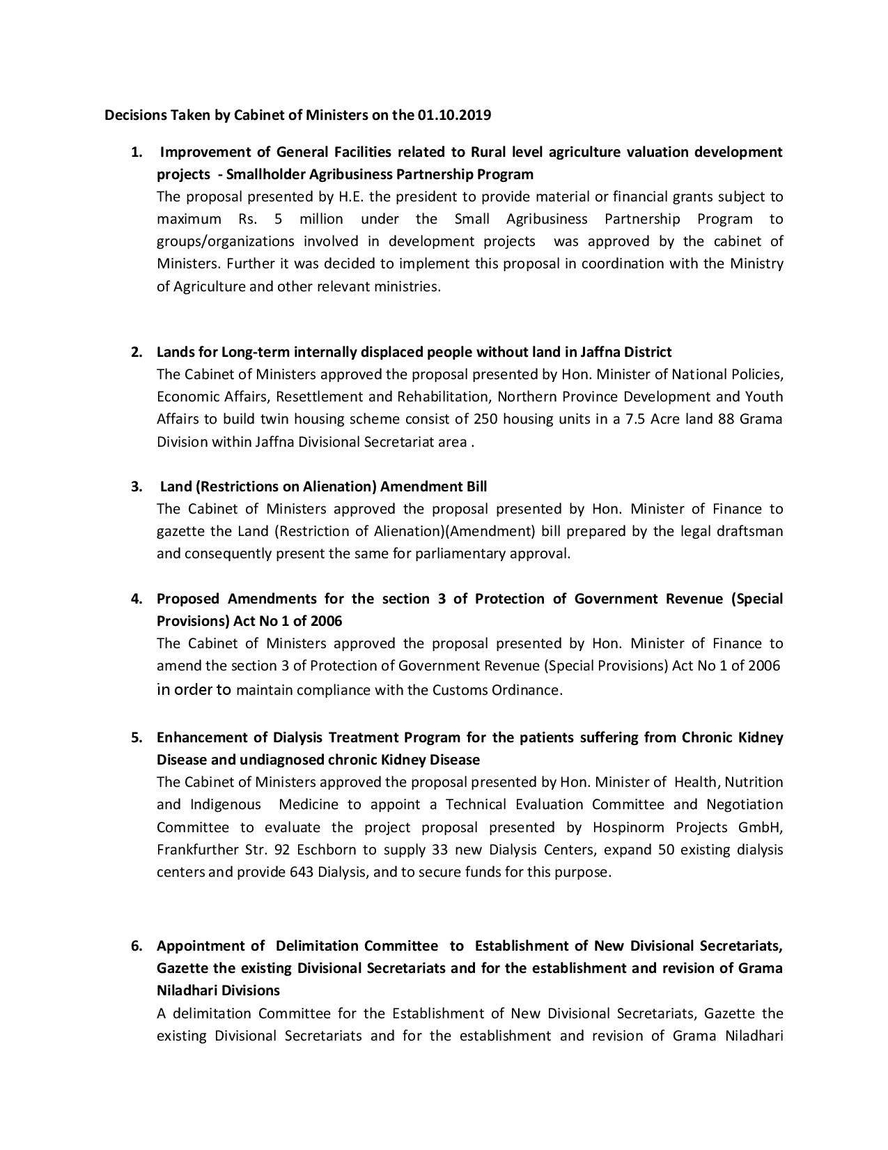 Decisions Taken by Cabinet of Ministers on theE 01.10.2019 page 001