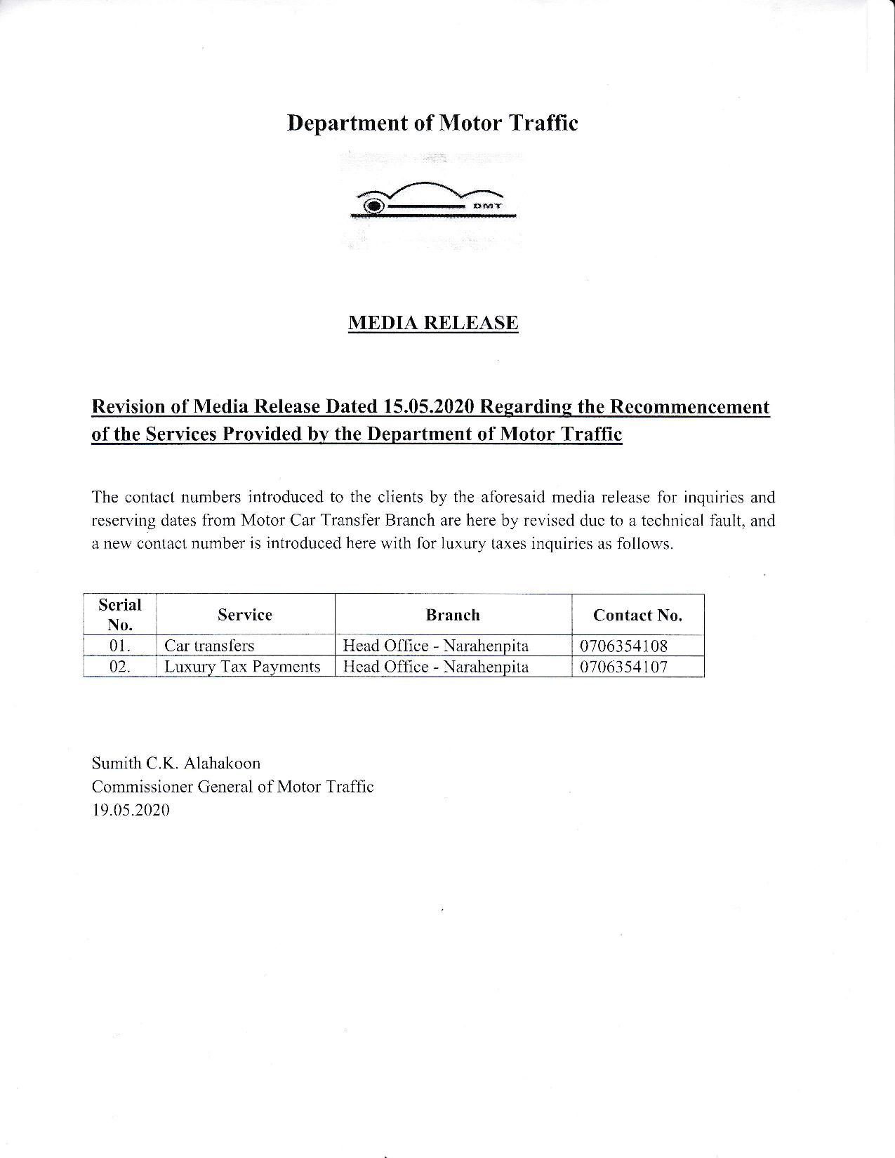 Media Release Department of Motor Traffic page 003